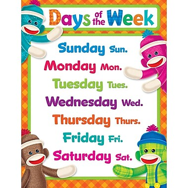 Trend Enterprises® Days Of The Week Sock Monkeys Learning Chart