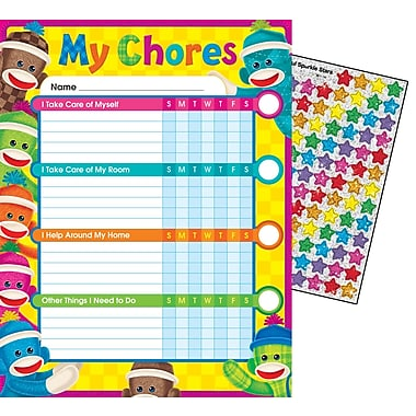 Trend Enterprises® Sock Monkeys Chore Chart, 8 1/2