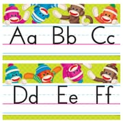 Trend Enterprises® Grade PreKindergarten-4 Sock Monkeys Alphabet Line Bulletin Board Set
