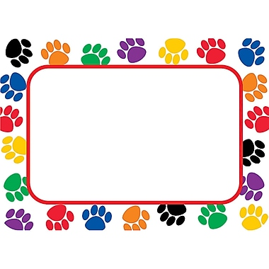 Teacher Created Resources Infant - 6 Grade Name Tag, Colorful Paw Prints
