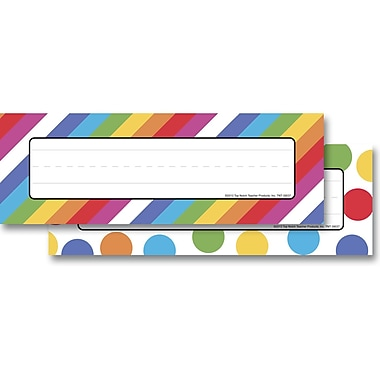 Top Notch Teacher Products® Infant - 6 Grade Mini Name Plate, Angle Stripes Colorful Dots