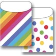 Top Notch Teacher Products® Twin Pack Library Pockets, Angle Stripes Colorful Dots