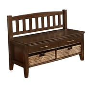 Simpli Home Williamsburg Soild Wood Entryway Storage Bench, Walnut Brown