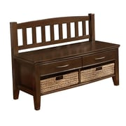 Simpli Home Williamsburg Solid Wood Entryway Storage Bench, Walnut Brown