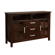 Simpli Home Kitchener Wooden TV Stand, Dark Walnut Brown