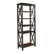 "Simpli Home Adrien 5-Shelf 72"" Solid Wood Bookcase, Tobacco Brown"
