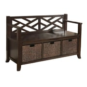 Simpli Home Adrien Soild Wood Entryway Storage Bench, Espresso Brown