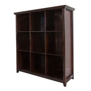 Simpli Home Acadian 9 Cube Storage Bookcase, Dark Tobacco Brown