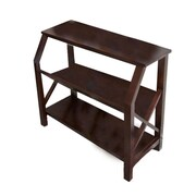 Simpli Home Acadian Wooden Cross Hatch 2 Shelf Bookcase, Dark Brown