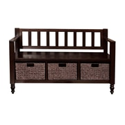 Simpli Home Dakota Soild Wood Entryway Storage Bench, Dark Exeter Brown