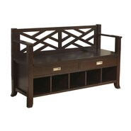 Simpli Home Sea Mills Soild Wood Entryway Storage Bench, Espresso Brown