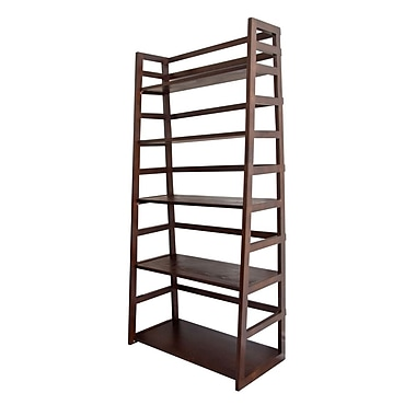 Simpli Home Acadian Wooden Ladder Shelf, Dark Tobacco Brown