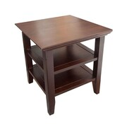 "Simpli Home Acadian 20""H x 19""W x 19""L Solid Wood End Table, Tobacco Brown"