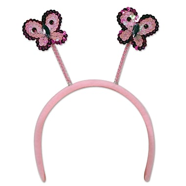 Beistle Adjustable Sequined Butterfly Boppers, Pink