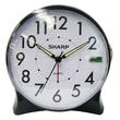MZB SPC127A Sharp 4.7in. x 2.1in. x 4.5in. Quartz Analog Table Alarm Clock, Black/White