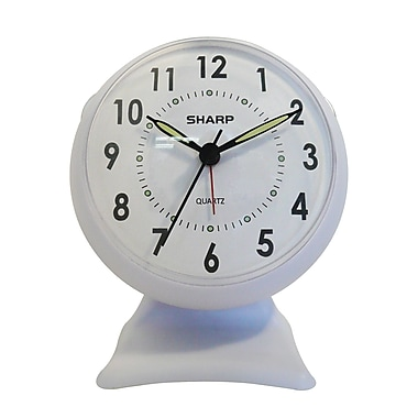 MZB SPC820B Sharp Quartz Analog Alarm Clock, White