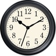 MZB SPC952 Sharp 10in. Quartz Round Wall Clock, Black
