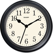 MZB SPC952 Sharp 10 Quartz Round Wall Clock, Black