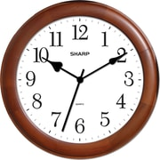 MZB SPC954 Sharp 12 Quartz Analog Wall Clock With Wood Case, Cherry
