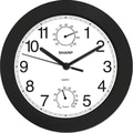 MZB SPC956 Sharp 9 3/4in. Quartz Analog Wall Clock With Humidity and Temperature Display, Black