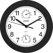 MZB SPC956 Sharp 9 3/4 Quartz Analog Wall Clock With Humidity and Temperature Display, Black
