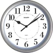 MZB SPC957 Sharp 8 1/4in. Round Wall Clock, Silver