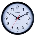 MZB SPC961 Sharp 14in. Quartz Analog Wall Clock, Black