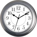 MZB SPC962 Sharp 13 1/2in. Quartz Analog Wall Clock, Silver