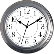 MZB SPC962 Sharp 13 1/2 Quartz Analog Wall Clock, Silver