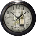 MZB WAC905 18in. Waltham Quartz Wall Clock With Fine Wine Dial, Black