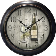 MZB WAC905 18 Waltham Quartz Wall Clock With Fine Wine Dial, Black