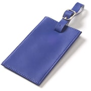 Clava Leather Colored Leather Oversized Rectangular Luggage Tag; Blue