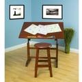 Studio Designs Creative Hardwood 36''W x 24''D Drafting Table and Stool Set