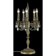 Elegant Lighting Rosalia 26'' H 5 Light Table Lamp; French Gold / Golden Teak (Smoky) / Royal Cut