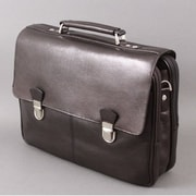 Dr. Koffer Fine Leather Accessories Troy Leather Laptop Briefcase; Venetian Black