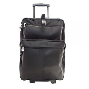 Piel Pastel Leather Collection 22'' Wheeled Traveler Suitcase; Black