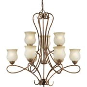 Forte Lighting 9 Light Chandelier with Umber Shades