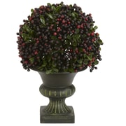 Nearly Natural Pepper Berry Ball Floor Plant in Urn (Set of 3)