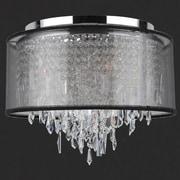Worldwide Lighting Tempest 5 Light Flush Mount with Black Organza Shade