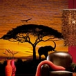 Brewster Home Fashions Komar African Sunset 4-Panel Wall Mural