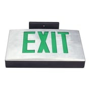 Deco Lighting Single Face Cast Aluminum LED Exit Sign Light; Black Housing with Green Letters