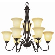 TransGlobe Lighting 9 Light Shaded Chandelier; Rubbed Oil Bronze with Amber Glass