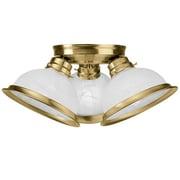 Livex Lighting 3 Light Flush Mount; Antique Brass