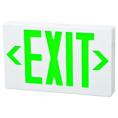 Morris Products Remote Capable LED Exit Sign in Green LED and White Housing w/ Battery Backup