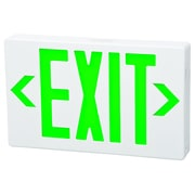 Morris Products Remote Capable LED Exit Sign in Green LED and White Housing with Battery Backup
