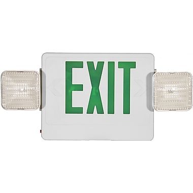 Morris Products Combo Remote Capable LED and Exit / Emergency Light in Green LED and White Housing