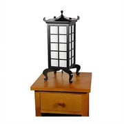 Oriental Furniture Kobe 19'' H Table Lamp with Square Shade; Black