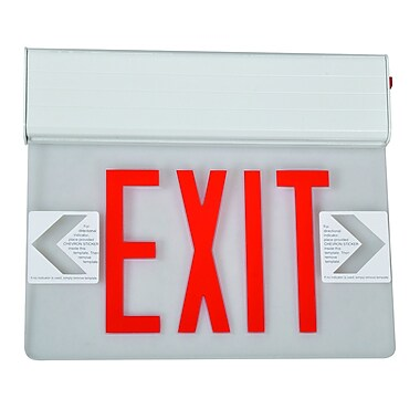 Morris Products Surface Mount Edge Lit LED Exit Sign w/ Red on Clear Panel and White Housing