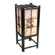 Oriental Furniture Samurai Shoji 18'' H Table Lamp with Square Shade; Black