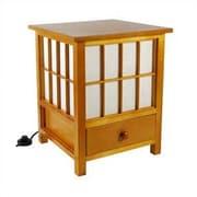 Oriental Furniture Hokkaido 19'' H Table Lamp with Square Shade; Honey